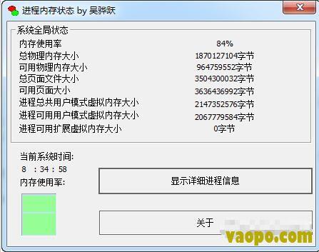 进程内存状态查看器(虚拟内存查看工具) v1.0 绿色版下载