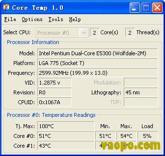 CPU温度检测软件Core Temp 1.0rc6 绿色版下载