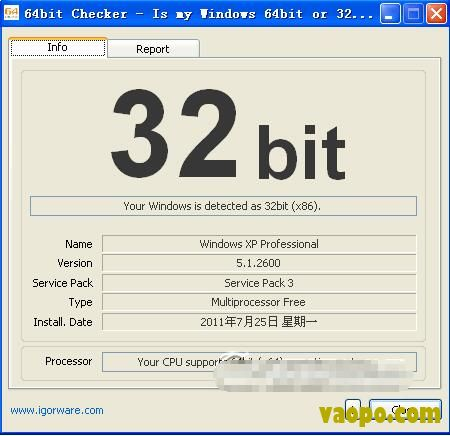 CPU是否是64位检测软件-检测CPU是否为64位(64bit Checker) 1.43 绿色免费版下载