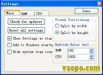 CPU内存实时查看工具RAM CPU Taskbar v2.1 绿色版下载