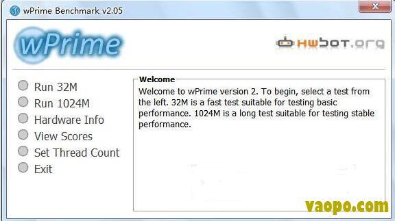 cpu多线程性能测试(wPrime) v2.1 绿色版下载