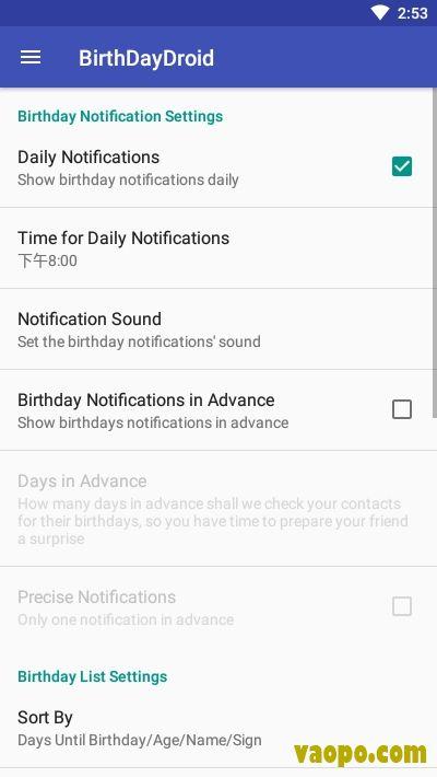 BirthDayDroid app