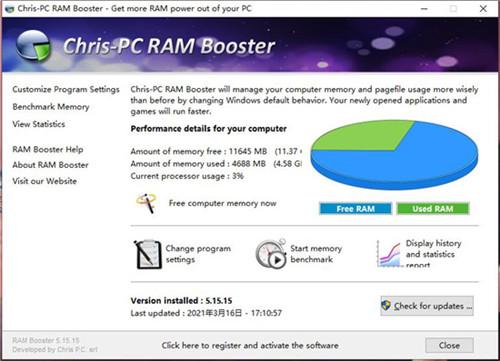 ChrisPC RAM Booster中文版功能介绍